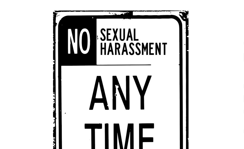 "Street sign saying ""No Sexual Harassment Any Time"" (student's harassment suit frivolous)"